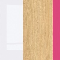 white gloss/oak polish/fuchsia handle