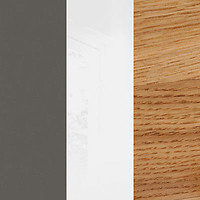 tungsten gray/white mirror gloss/natural oak (wood)
